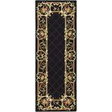 Safavieh Chelsea Collection HK333B Hand-Hooked French Country Wool Runner, 3' x 12' , Black