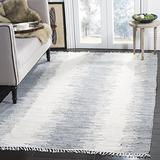 Safavieh Montauk Collection MTK751K Handmade Stripe Fringe Cotton Area Rug, 5' x 8', Grey