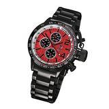 Konigswerk Mens Watch Black Metal Bracelet Red Dial Big Face Multifunction Day Date Tachymeter AQ101106G