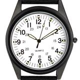 Orkina Black Case White Dial Nylon Canvas Band Wrist Watch