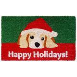 "Entryways Dog Lovers Holiday Handmade, Hand-Stenciled, All-Natural Coconut Fiber Coir Doormat 18"" X 30"" x .75"""