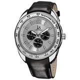 Joshua & Sons Men's Multifunction Watch - 3 Subdials Engraved on Tachymeter Bezel On Silver Bezel Dial and Genuine Black Leather Strap - JS-45