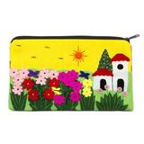 Applique cosmetic bag, 'Sunny Afternoon'