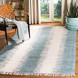 Safavieh Montauk Collection MTK751A Handmade Stripe Fringe Cotton Area Rug, 5' x 8', Blue