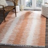 Safavieh Montauk Collection MTK751C Handmade Stripe Fringe Cotton Area Rug, 5' x 8', Orange