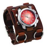 Nemesis #WB091N Men's Super Wide Tri Clasp Leather Cuff Band Sunburst Orange Dial Watch