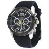 Seiko Chronograph Black Dial Black Rubber Mens Watch SPC101