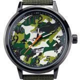 Orkina Mens Military Style Green Camouflage Quartz Dial Black Nylon Canvas Band Wrist Watch