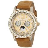 Peugeot Women Crystal Bezel Dress Watch, Day Date Moon Phase Function & Mother of Peal Dial with Roman Numeral, Brown Suede Strap
