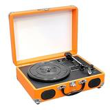 Upgraded Version Vintage Record Player - Classic Vinyl Player, Turntable, Rechargeable Batteries, MP3 Vinyl, Music Editing Software Included, USB-to-PC Connection, 3 Speed - Pyle PVTT2UOR (Orange)