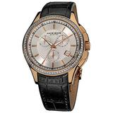 Akribos XXIV Women's 'Grandiose' Swiss Watch - Chronograph 3 Subdial Minute Timer, Seconds and Date Window on Genuine Leather - AK615