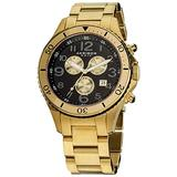 Akribos XXIV Men's 'Ultimate' Chronograph Black and Gold-Tone Watch - 3 Multifunction Subdials With Date Window On Stainless Steel Bracelet Watch - AK616