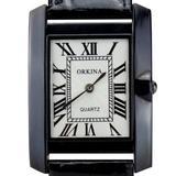 Orkina Classic Black Rectangular Case Quartz Dial Leather Band Wrist Watch