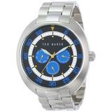 Ted Baker Men's TE3046 Sport Silver Case and Bracelet Blue Dial Watch