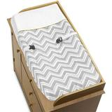 Sweet Jojo Designs Zig Zag Changing Pad Cover Cotton in Black/Gray/White, Size 32.0 H x 17.0 W x 6.0 D in | Wayfair Pad-ZigZag-GY-YW