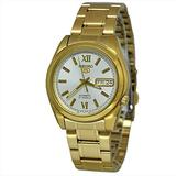 Seiko SNKL58 Mens Seiko 5 Gold Tone Stainless Steel Case and Bracelet White Tone Dial Day and Date Watch
