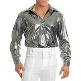Charades Mens XXXL 56-60 Metallic Silver 70s Disco Costume Shirt