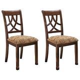 Ashley Furniture Signature Design - Leahlyn Dining Upholstered Side Chair - Pierced Splat Back - Set of 2 - Medium Brown