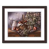 """""""Quilt, Pitcher and Apples Framed Art Print by T.C. Chiu, Brown, 22"""""""" X 18"""""""""""""""