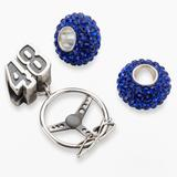 """""""Insignia Collection NASCAR Jimmie Johnson Sterling Silver """"""""48"""""""" Steering Wheel Charm & Bead Set, Women's, Blue"""""""
