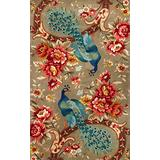 """KAS Rugs 0732 Catalina Peacock Flora Area Rug, 3' 3"""" by 5' 3"""", Sage"""