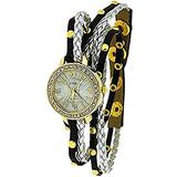 TOC Ladies Extra Long Black Metallic, Silver Plaited Stud Strap Watch SW1097