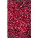 Safavieh Rio Shag Collection SG951E Handmade Decorative 3.5-inch Extra Thick Area Rug, 4' x 6', Red / Multi