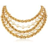 """Ben-Amun Jewelry """"Gold and Pearl"""" Multi-Row Necklace, 16"""""""