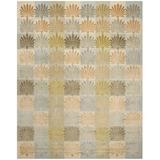 Martha Stewart Rugs Martha Stewart Sanctuary Floral Handmade Knotted Wool/Silk Oasis Area Rug Silk/Wool in Blue, Size 117.0 H x 83.0 W x 0.3 D in