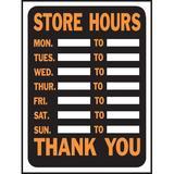 Hy-Ko Store Hours Sign Plastic in Orange, Size 0.02 H x 12.0 W x 9.0 D in   Wayfair 3030