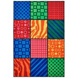 Carpets for Kids KID Value Rugs Tufted Blue/Green/Red Area Rug Nylon in White/Brown, Size 36.0 W x 0.25 D in | Wayfair 36.19