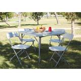 """Office Star Products 36"""" Plastic Square Folding Table Portable w/ 4 ChairsPlastic/Resin/Metal in Gray, Size 29.0 H x 36.0 W x 36.0 D in 
