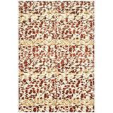 Martha Stewart Rugs Martha Stewart Geometric Hand Knotted Wool/Silk Red/Beige Area Rug Silk/Wool in Brown/Red, Size 108.0 H x 72.0 W x 0.25 D in