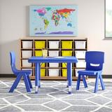 """Flash Furniture 3 Piece Square Activity Table & 10.5"""" Chair Set Plastic/Metal, Size 23.75 H x 24.0 W x 24.0 D in   Wayfair"""