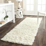 Safavieh Flokati Shag Geometric Handmade Tufted Wool Ivory Area Rug Wool in White, Size 108.0 H x 27.0 W x 0.63 D in | Wayfair FLK150A-29