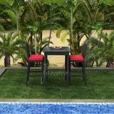 Forever Patio Barbados 3 Piece Bar Height Dining Set w/ Sunbrella Cushions Glass/Metal in Black, Size 41.0 H x 30.0 W x 30.0 D in   Wayfair
