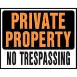 """Hy-Ko 15"""" x 19"""" Plastic Private Property No Trespassing Sign Plastic in Orange, Size 15.0 H x 19.0 W x 0.03 D in   Wayfair SP-106"""