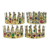 Beistle 72 Piece Printed Paper Medieval Theme Jeweled King Queen Crowns Mardi Gras Dress Up Costume Accessories, One Size, multicolor