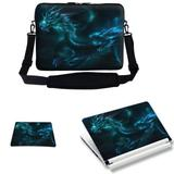 Meffort Inc 17 17.3 inch Laptop Carrying Sleeve Bag Case with Hidden Handle & Adjustable Shoulder Strap with Matching Skin Sticker and Mouse Pad Combo - Blue Dragon Design