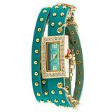 Geneva Platinum 12959012-TEAL Women's Rhinestone Chain Studded Wrap-around Watch