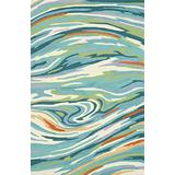 """Loloi Olivia Collection Hand-made 100-Percent Polyester Area Rug, 2'-3"""" x 3'-9"""", Teal/Multicolor"""