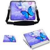 Meffort Inc 15 15.6 inch Laptop Carrying Sleeve Bag Case with Hidden Handle & Adjustable Shoulder Strap with Matching Skin Sticker and Mouse Pad Combo - Blue Purple Butterfly