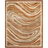 Martha Stewart Rugs Martha Stewart Marble Swirl Abstract Handmade Tufted Beige/Area Rug Viscose/Wool in Brown, Size 102.0 H x 66.0 W x 0.63 D in