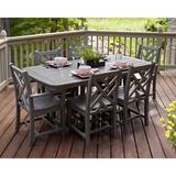 POLYWOOD® Chippendale 7 Piece Dining Set Plastic in Gray, Size 29.0 H x 71.5 W x 36.75 D in | Wayfair PWS121-1-GY