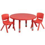 Flash Furniture 3 Piece Circular Activity Table Chair Set Plastic/Metal, Size 23.75 H x 33.0 W x 33.0 D in   Wayfair