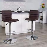 Flash Furniture 2 Pack Modern Brown Vinyl Adjustable Bar Stool with Back, Counter Height Swivel Stool with Chrome Pedestal Base