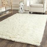 Safavieh Flokati Shag Geometric Handmade Tufted Wool Ivory Area Rug Wool in White, Size 72.0 H x 48.0 W x 0.63 D in | Wayfair FLK150A-4