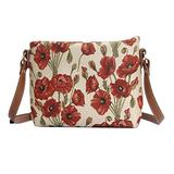 Signare Tapestry Crossbody Purse Small Shoulder Bag for Women with Poppy Flower Design (XB02-POP)