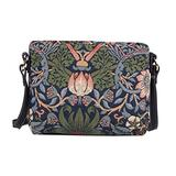 Signare Tapestry Crossbody Purse Small Shoulder Bag for Women with Flower and Bird William Morris Strawberry Thief Blue Design(XB02-STBL)