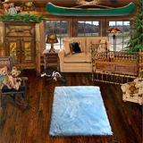 "36'' X 60"" Faux Fur Rug/Baby Sky Light Blue Rectangle/Sheepskin Area Accent Toss/Throw Carpet/New"